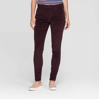 Universal Thread Women's Corduroy Mid-Rise Skinny Jeans - Universal ThreadTM Burgundy
