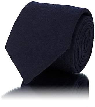 Barneys New York Men's Waffle-Textured Wool-Silk Necktie - Navy
