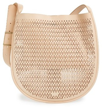 Skagen Janna Perforated Leather Hobo - Beige $325 thestylecure.com