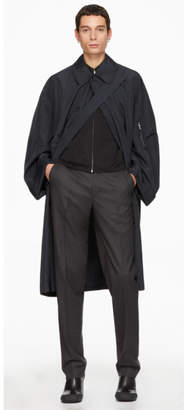 Random Identities Navy Satin Overcoat
