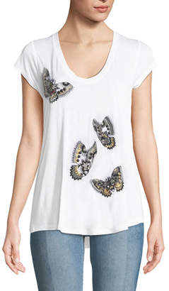 Zadig & Voltaire Tiny Cannet Butterfly Graphic Short-Sleeve Tee