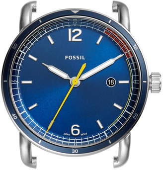 Fossil The Commuter Three-Hand Date Blue Stainless Steel Watch Case