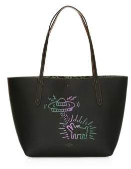 Coach Keith Haring UFO Dog Leather Market Tote