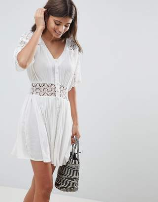 Asos DESIGN Casual Tea mini dress With Lace Insert
