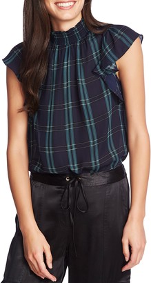 1 STATE 1.State Plaid Mock Neck Blouse