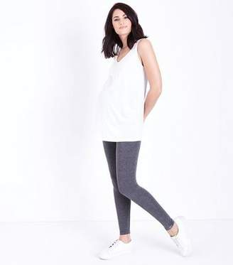 New Look Maternity 2 Pack Grey and Black Over Bump Leggings