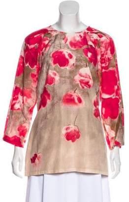 Lela Rose Long Sleeve Floral Print Tunic