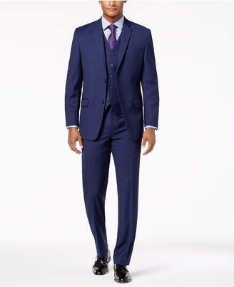 Andrew Marc Men's Modern-Fit Stretch Navy Neat Vested Suit