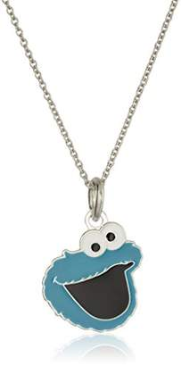 Sesame Street Kid's Brass Fine Silver Plated Enamel Cookie Monster Face Pendant Necklace
