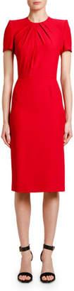 Alexander McQueen Short-Sleeve Crepe Sheath Dress