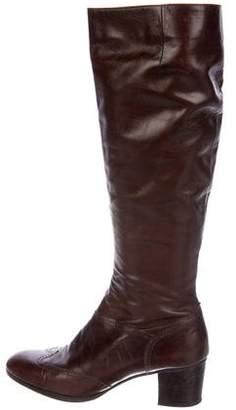 Salvatore Ferragamo Wingtip Knee-High Boots