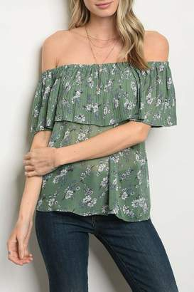 Shop The Trends Green Floral Top