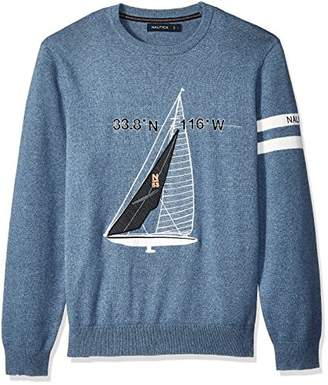 Nautica Men's Crew Neck Graphic Logo Light Weight Sweater