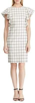 Lauren Ralph Lauren Slim Fit Windowpane Jacquard Flutter Sleeve Dress