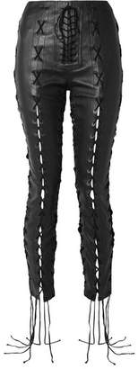 Unravel Project - Lace-up Leather Skinny Pants - Black