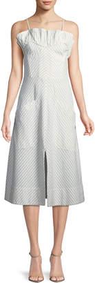 Rebecca Taylor Sleeveless Stripe Ruffle Dress