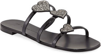 8d826f03d Giuseppe Zanotti Patent Heart-Embellished Sandals