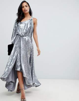 Asos EDITION blouson one shoulder midi dress in holographic sequin