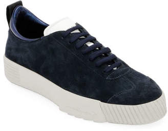 Giorgio Armani Men's Suede Low-Top Sneaker, Navy