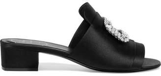 Crystal-embellished Satin Mules - Black