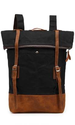 EAZO - Folded-Top Waxed Canvas & Leather Backpack In Black