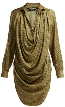 Jacquemus La Robe Saabi Botanical Print Satin Shirtdress - Womens - Green