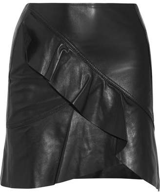 IRO - Ruffled Leather Wrap-effect Mini Skirt - Black $850 thestylecure.com