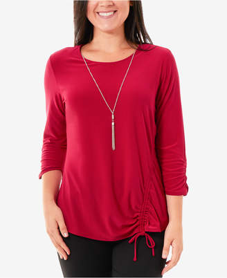 NY Collection Petite Ruched Necklace Top
