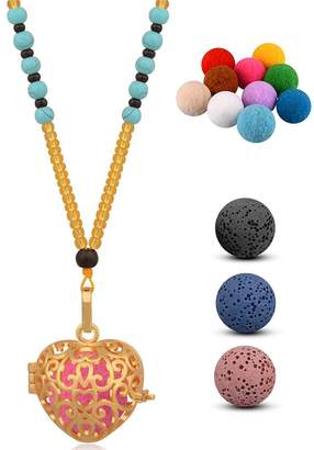 "INFUSEU Fleur De Lis Pendant Necklace Aromatherapy Essential Oil Diffuser Locket + 3 Lava Rock Beads + 10 Refill Felt Balls with 25"" Stone Bead Long Chain Gold Women Flower Scent Jewelry"