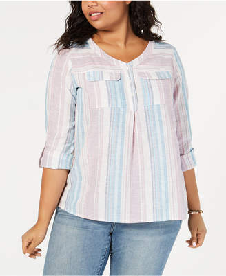 Style&Co. Style & Co Plus Size Striped Linen-Cotton Shirt
