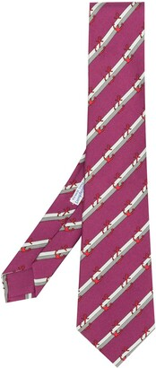 Hermes Pre-Owned striped anchor patterned tie