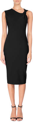 Victoria Beckham Knotted Sleeveless Sheath Dress