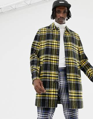 Asos DESIGN wool mix trench coat in yellow check