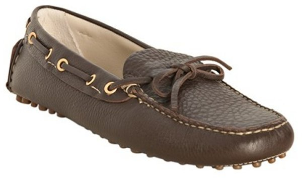 Car Shoe coffee pebbled leather driving loafers