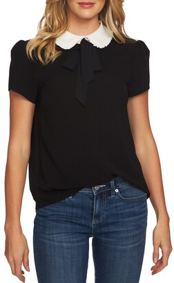 CeCe Ruffle Collar Short Sleeve Blouse
