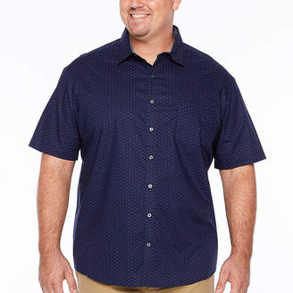 Claiborne Short Sleeve Pattern Button-Front Shirt-Big and Tall