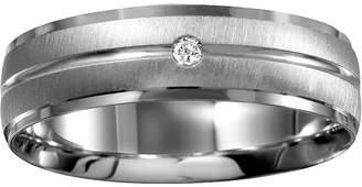 MODERN BRIDE Mens 6mm Diamond-Accent 10K White Gold Wedding Band