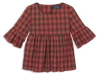Ralph Lauren Girls' Poplin Plaid Bell-Sleeve Top - Little Kid