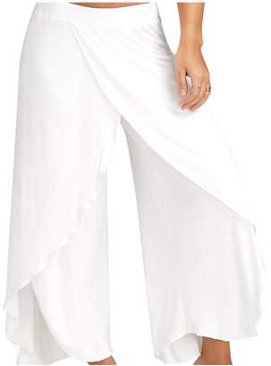 Zojuyozio Women Elegant Ruffle Slit Loose Palazzo Yoga Pants Trouses Plus Size 4XL