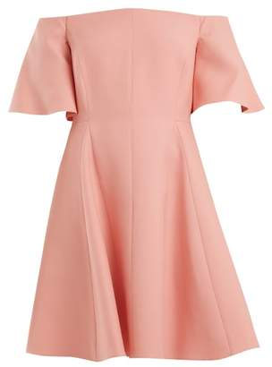 Valentino Off Shoulder Silk Crepe Dress - Womens - Pink