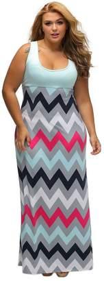 Sugarwewe Plus Size High Waist Sleeveless Top Multicolor Zigzag Maxi Dress Plus