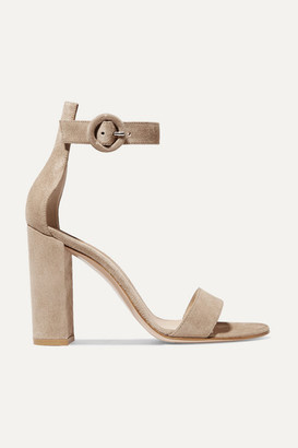 Gianvito Rossi Versilia 100 Suede Sandals - Neutral