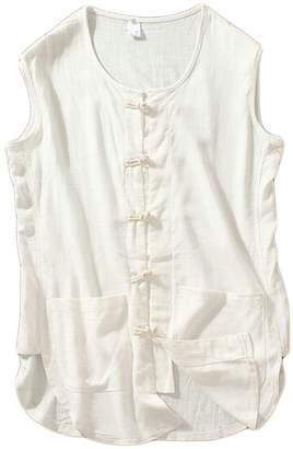 d3949c75e748e JXG-Men Sleeveless Linen Relaxed Fit Button Linen Tank Tops Vest US 2XL