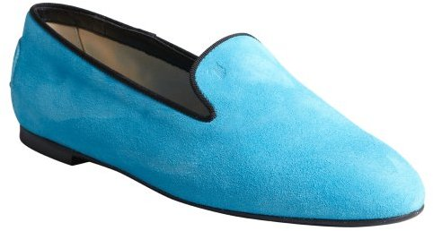 Tod's caribbean blue and black suede grosgrain trimmed loafers