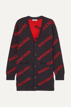 Balenciaga Intarsia Wool-blend Cardigan - Navy