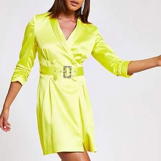 River Island Yellow belted blazer dress