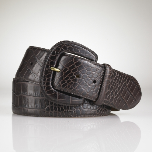 Ralph Lauren Croc-Embossed Leather Belt