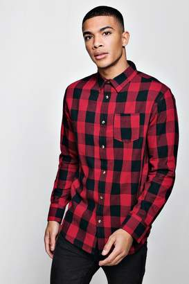 boohoo Long Sleeve Red Check Shirt