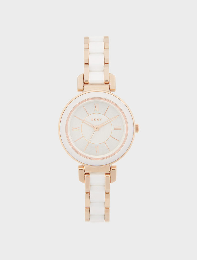 DKNY Ellington 30mm White Ceramic With Rose Gold-Tone Watch