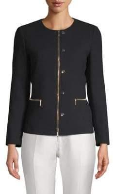 Lafayette 148 New York Kerrington Leather-Trim Wool Jacket